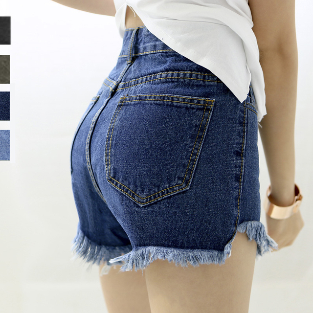 Summer Casual Skinny Denim Hotpants Women High Waist Jeans Shorts American Sexy Tassel Denim Shorts