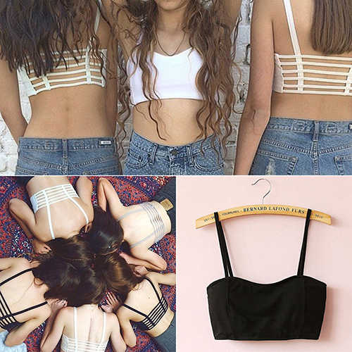 Delle donne Sexy Bralette Caged Torna Cut Out Cinghietti Imbottito Bra Bralet Vest Crop Top 6RDR 7G3Y