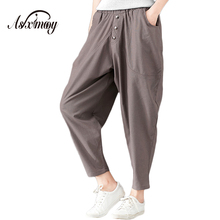 Plus Size Casual Loose Vintage Cotton Linen Harem Pants Trousers Women Elastic High Waist Wide Leg Pants Pantalones Mujer 2018(China)