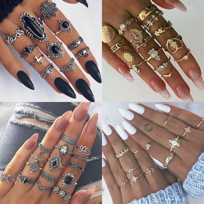 Женский винтажный набор колец с опалом и кристаллами средней длины, 9 дизайнерских золотых звездочек, 2019 1