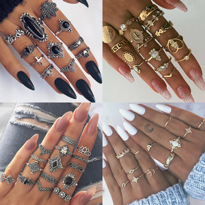9 Design Boho Vintage Gold Star Midi Moon Rings Set For Women Opal Crystal Midi Finger Ring 2019 Female Bohemian Jewelry Gifts(China)
