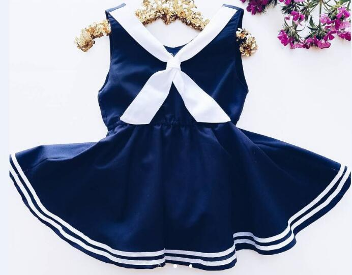 Cute Baby Girls Clothes Purplish Blue Solid Dress Bottom Striped Ruched Dresses Sleeveless Kid Bebe Clothing