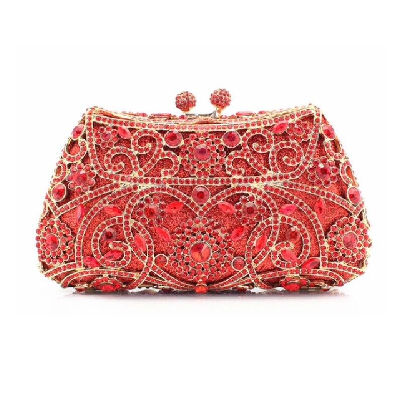 ФОТО #8131 RED Crystal Flower Floral Wedding Bridal Party Night Hollow Metal Evening purse clutch bag case box handbag