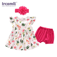 2018 Toddler Girls Summer Clothing Sets Kids Girls Clothes Floral Print Dress+Pants+Headband 3PCS Kid Infant Baby Set