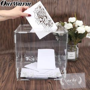 OurWarm بطاقة حفل زفاف مربع زجاج الأكريليك الزفاف حصالة عيد ميلاد حزب DIY الديكور الكريستال صندوق أكرليك مع غطاء