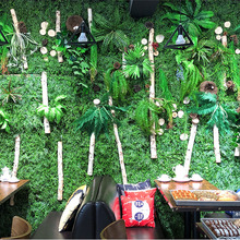 L 60cm* W 40cm Artificial Plant Green Grass Leaves Square Part for Wedding Party Home Mall Store Background Wall DIY Decor