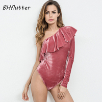 BHflutter 2018 New Style Velour Spring Autumn Bodysuit Women One Shoulder Ruffles Sexy Jumpsuit Romper Elegant