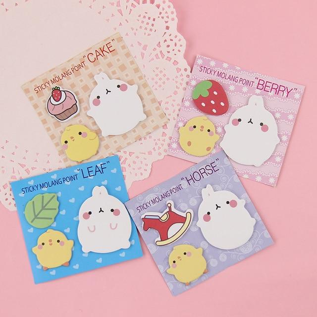 4 PCS Dos Desenhos Animados Molang Coelho Sticky Note Pad Memo Bookmark Presentes Criativos Estudantes Suprimentos Essenciais