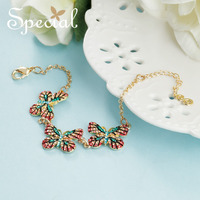 Special Fashion Colorful Rhinestones Bracelets Bangles Romantic Butterfly Charm Bracelets Gifts For Women S1735C