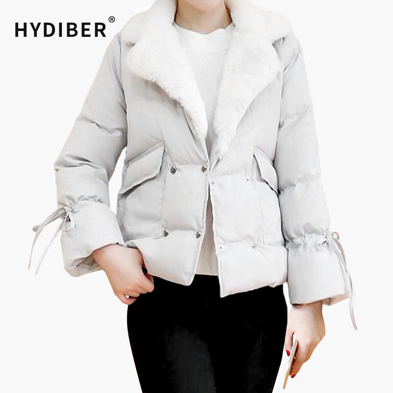 ФОТО 2016 Winter Short Jacket Women Solid White Fur Collar Flocking Parka Coats Warm Cotton Padded Elegant Coat Wadded Outerwear