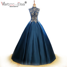 VARBOO ELSA 2018 Arabic Dubai Sleeveless blue satin Evening Dress Bead  Applique High Neck Prom Dress Embroidery Ball Gown Dress b20815a7e2ae