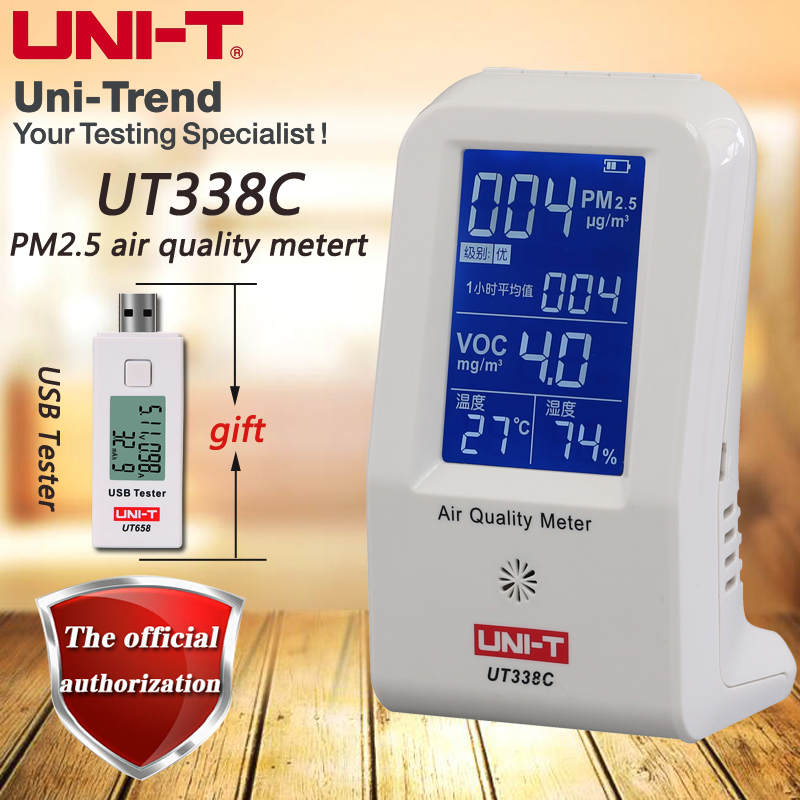 UNI-T UT338C air quality meter, PM2.5 air quality detector Humidity / temperature monitor with backlight digital indoor air quality carbon dioxide meter temperature rh humidity twa stel display 99 points made in taiwan co2 monitor