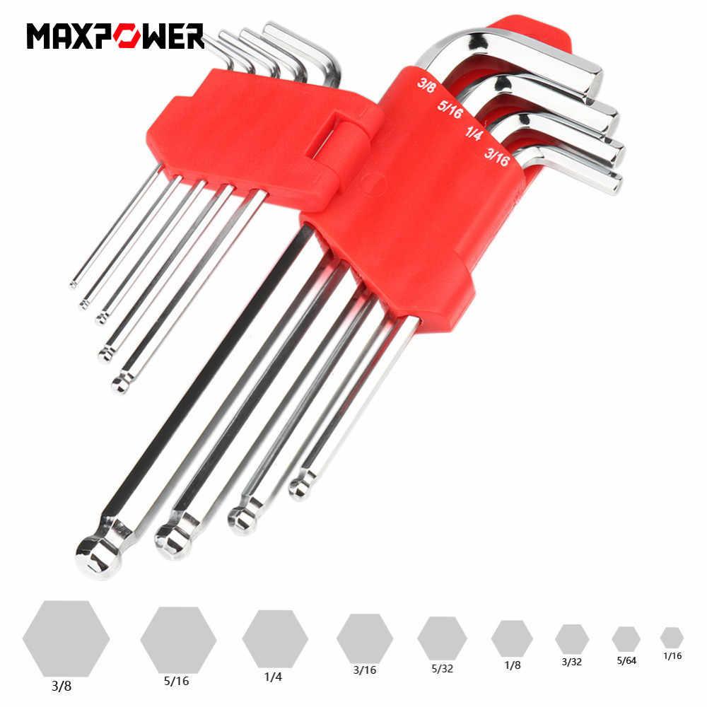 9 pçs 1/16-3/8 polegada crv bola ponto hex allen chave conjunto kit ferramenta de reparo de ciclismo dropship ferramenta de reparo de bicicleta mão b4