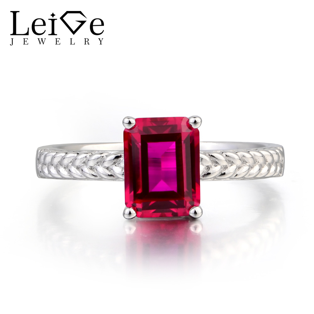 Leige Jewelry Ruby Engagement Ring Ruby Ring Emerald Cut Red Gemstone 925 Sterling Silver Ring July Birthstone Ring for WomenLeige Jewelry Ruby Engagement Ring Ruby Ring Emerald Cut Red Gemstone 925 Sterling Silver Ring July Birthstone Ring for Women