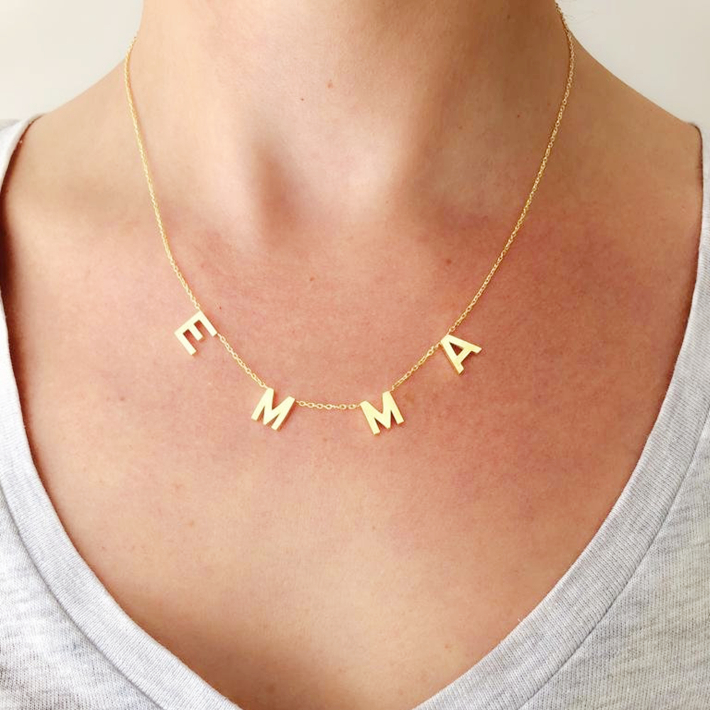 Personalized 1 8 Letters Necklace Women Alphabet Jewelry Customized Stainless Steel Letters Name Necklace Birthday Gift For Her|Customized Necklaces|   - AliExpress