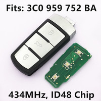 Remote Key 433Mhz For VW Passat CC Magotan Car Keyless Entry Fob P N 3C0 959