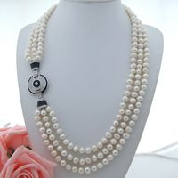 AB090203 25'' 28 3Strands White Pearl Necklace