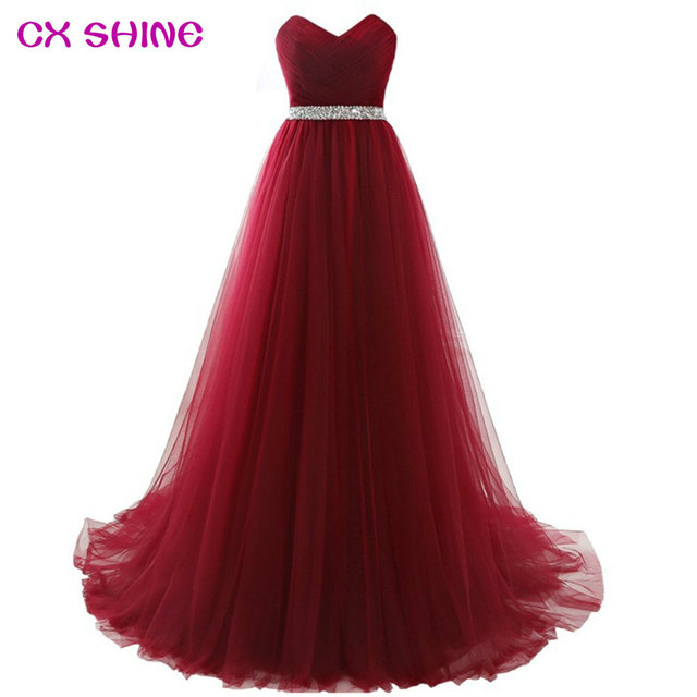 CX SHINE Custom Color&Size New beading belt long bridesmaid dresses tulle wedding Prom party dress Plus size Robe Brautjungfern