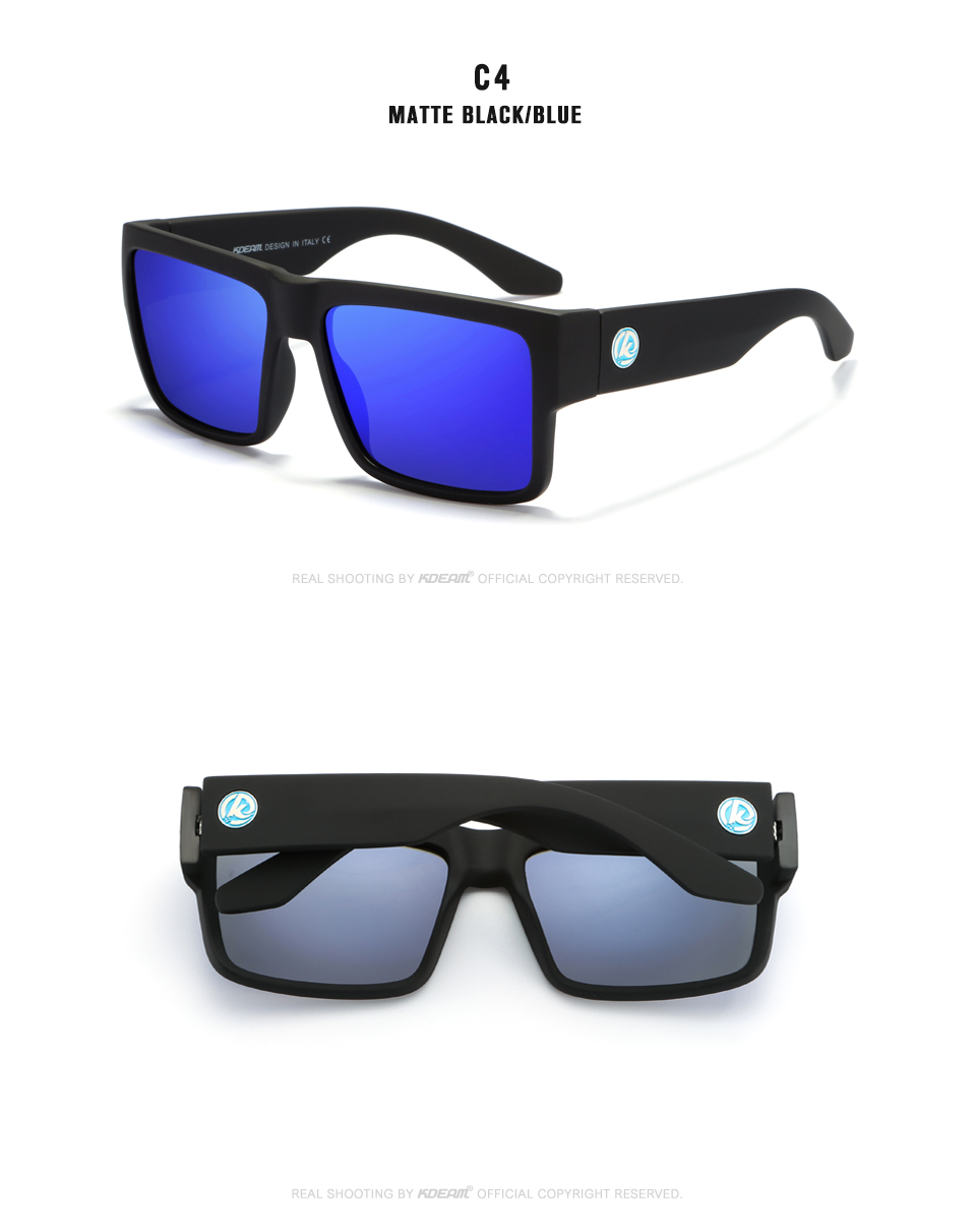 2019 New Arrival Men Sport Sunglasses Square Frame HD Polarized mirror lens Women Outdoor Eyewear UV400 5 Colors with case KD093
