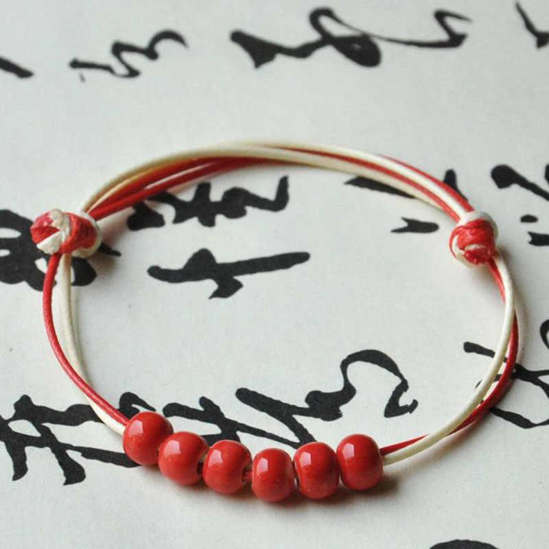 Двойной цепи красочные Керамика Бусины Плетёные браслеты Для женщин Для мужчин плести веревки Браслеты Регулируемый Напульсники Jewelry Интимные аксессуары