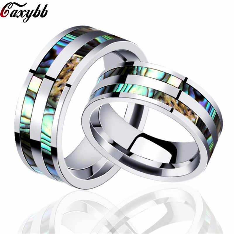 8 มม.สแตนเลสสตีลแหวนคู่ Abalone Shell Inlay สำหรับผู้ชายแหวนหมั้นแต่งงาน anillos hombre