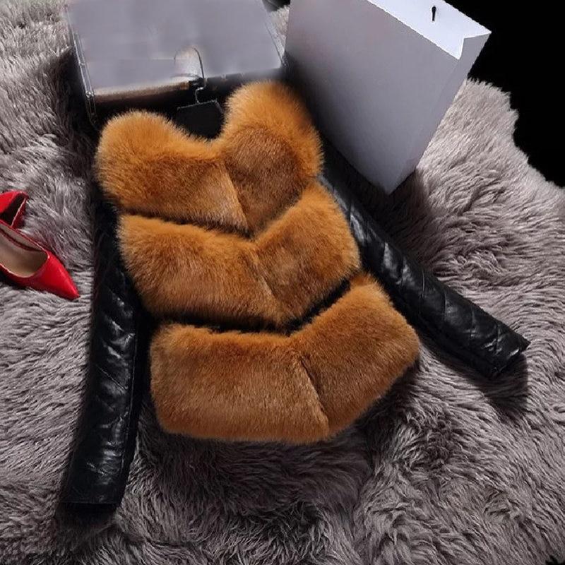 Women Jackets Fashion Autumn Winter Coat Warm Female Faux Fox Fur Patchwork PU High Grade Slim Jacket Outerwear 2C0140 in Faux Fur from Women 39 s Clothing