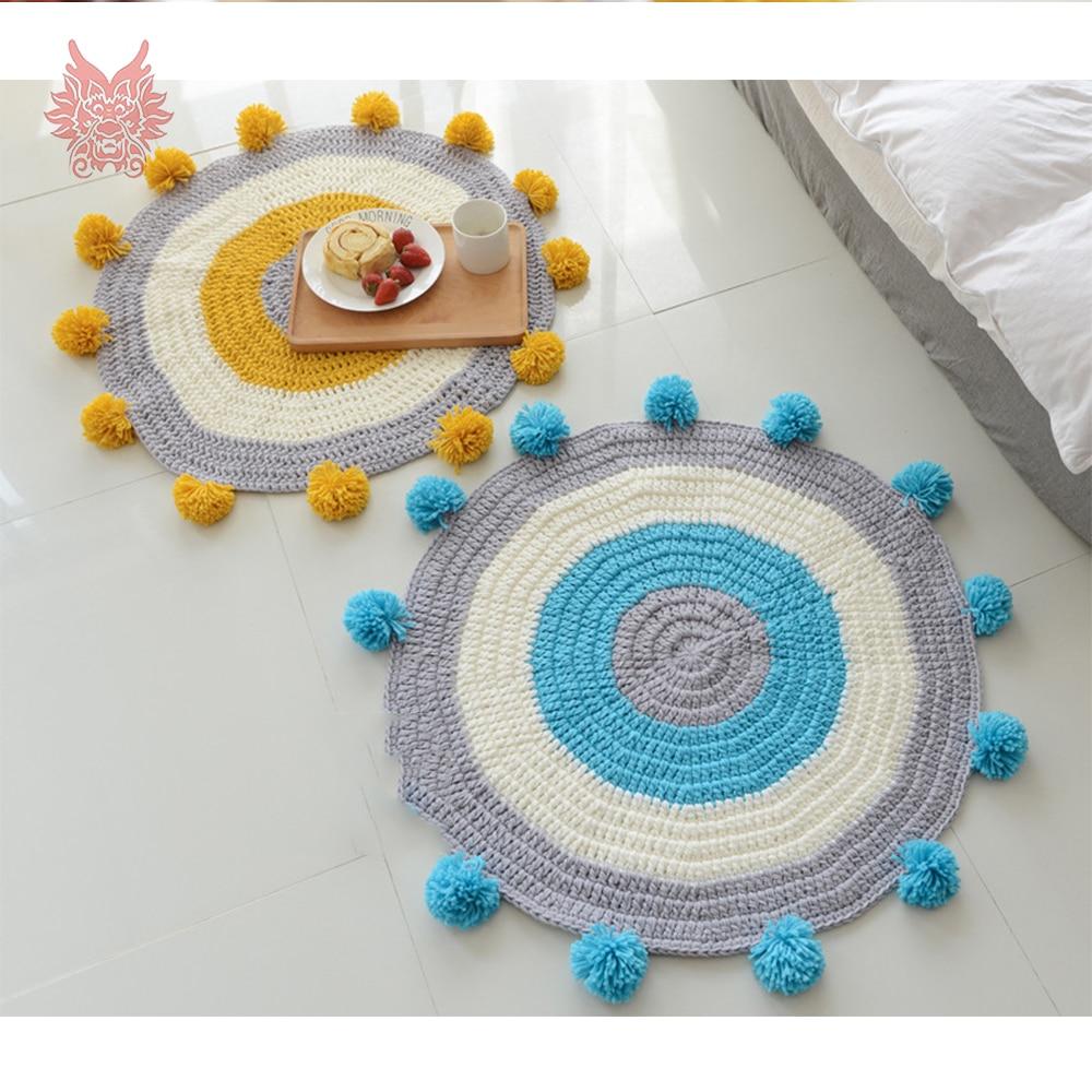 Style moderne bleu jaune cercle tricot faux cachemire tapis ronds pour la maison salon enfants tapis boules tapis chamb SP4331