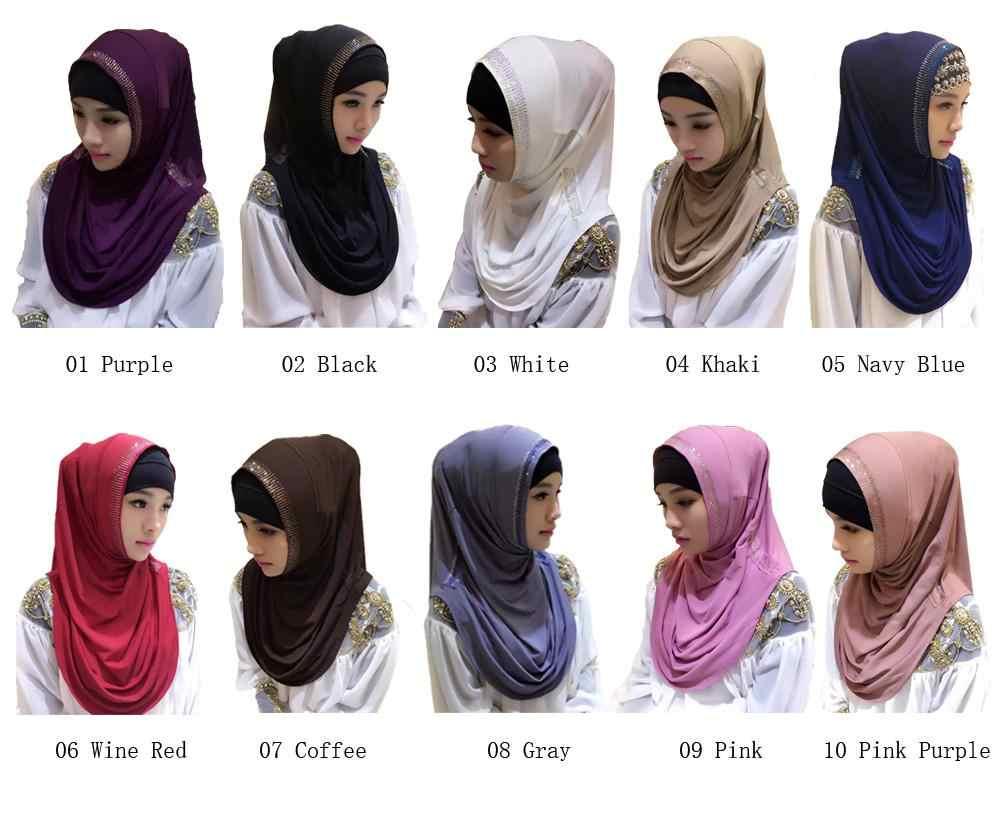 Цельнокроеный мусульманский хиджаб Amira, Женская шаль со стразами на голову, исламские шапочки с шарфами, полное покрытие, тюрбан, арабский химар, головной платок, модный