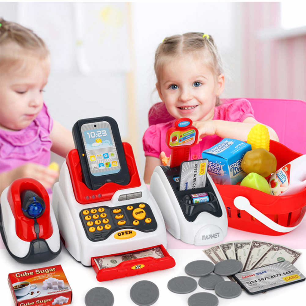 Children Gift Supermarket Cashier Funny Kids Pretend Play Learning Educational Cash Register Toy Simulated Model Role Counter