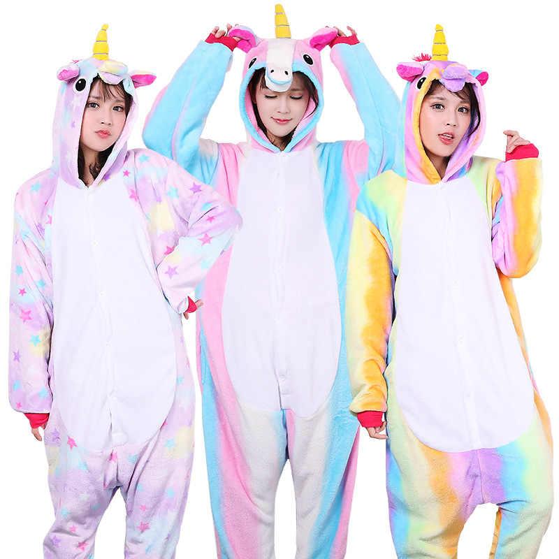 Взрослых животных пижамы наборы мультфильм пижамы Косплэй молнии Для женщин  Для мужчин зимние унисекс фланель единорог b951da01cc036