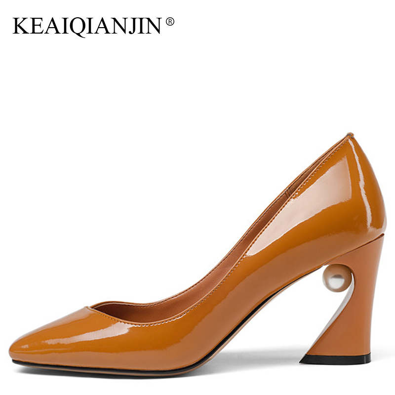 KEAIQIANJIN Woman Genuine Leather Pumps Plus Size 33 - 43 Sexy High Heels Shoes Black Chocolate Spring Square Toe Wedding Pumps