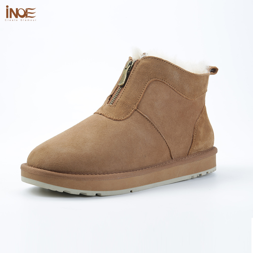INOE Sheepskin Suede Leather Men Shearling Wool Fur Lined Winter Boots With Zipper Short Ankle Snow Boots Keep Warm Shoes Brown
