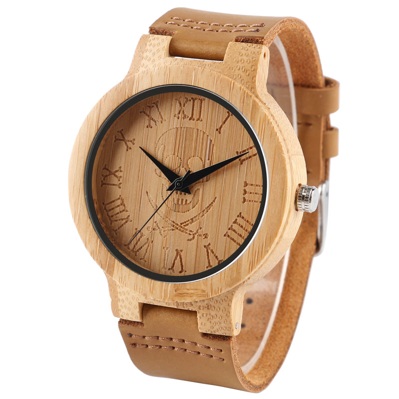 Cool Skull Nature Bamboo Watch Men's Wristwatch Genuine Leather Strap Roman Numbers Quartz Clock Novel Wood Watches Best Gifts