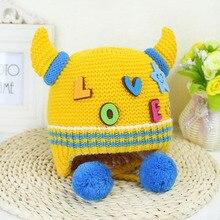 1PC 2016 Hot Soft Wool Baby Hat Lovely Horns Winter Toddler Infant Newborn Kids Cap Boys