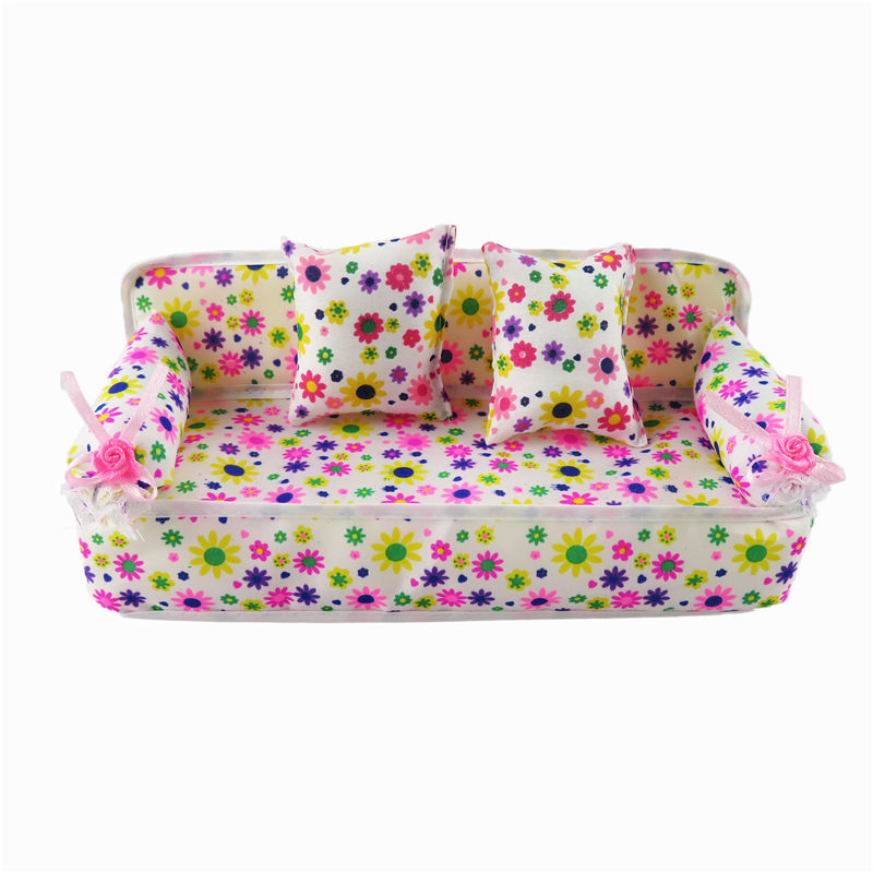 Cute Miniature Barbie Doll House Furniture Flower Cloth Sofa With 2  Cushions For Doll Accessories Kidu0027s