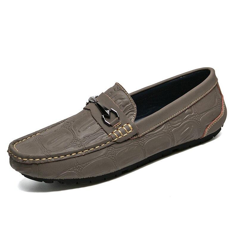 Para Preto Homens Sobre Deslizamento De amarelo Plana Condução Couro Sapatos Genuíno cinza Sólida Confortáveis Casuais Moda zxIO0Ww4
