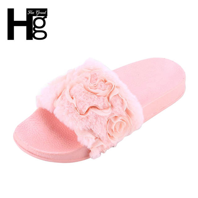Online Shop HEE GRAND Women Winter Rose Slippers Flock Fashion Plush Shoes  Women Faux Fur Slip On Girl Lady Outside Beach Slides XWT1017  13a3e2b4a806
