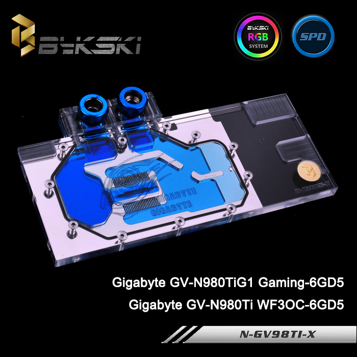 Bykski N-GV98TI-X Full Cover Graphics Card Water Cooling Block for Gigabyte GV-N980TiG1 Gaming-6GD5/GV-N980Ti WF3OC-6GD5 computador cooling fan replacement for msi twin frozr ii r7770 hd 7770 n460 n560 gtx graphics video card fans pld08010s12hh
