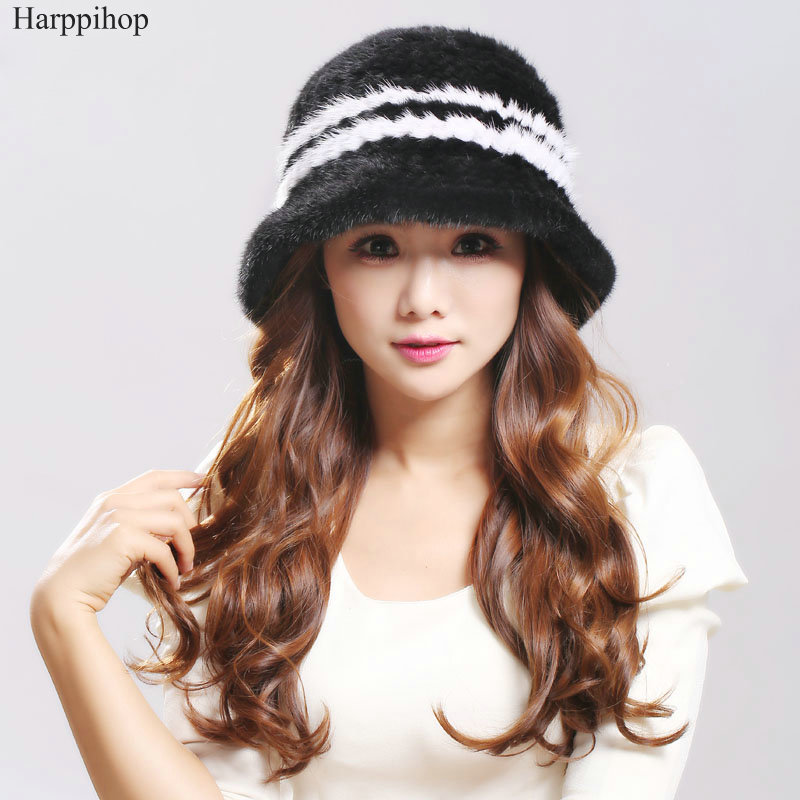 Women s Cap Knitted Mink fur hat For Women 2017 Fashion Winter Thick Black Plus size