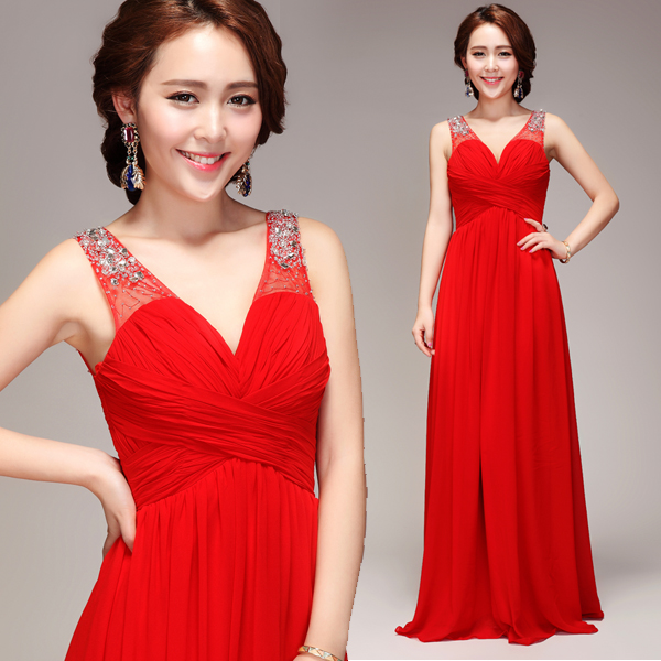 z 2016 new arrival stock maternity plus size bridal gown   evening     dress   deep v neck sexy long fashion red 3221
