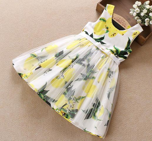 Estilo chaleco vestido de verano muchacha de los niños del vestido lindo popular de la manera lemon impreso vestido sin mangas de algodón vestido de la playa