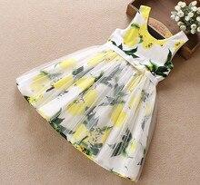 Gilet Robe D'été robe de Style Enfants Fille Mignon Très Populaire Mode Lemon Imprimé Coton sans manches robe de Plage Robe