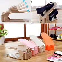 Solid color fourth gear adjustable shoe rack household items Double shoes rack Creative Plastic Shoes Rack Organizer