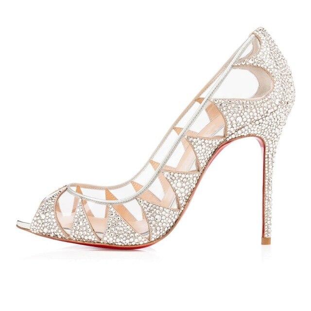 82216d2df1ebb Classic Sexy Peep Toe Pumps Shoes Women Glitter Shiny Rhinestone Wedding  Shoes Dance Party Clear High