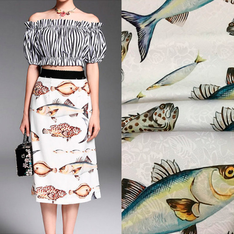 100X145cm Fashion Week Runway Fishes Printed White Jacquard Dress Fabric For Autumn Winter Skirts Dresses Coats Sewing DIY