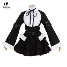 ROLECOS Black Lolita Anime Fairy Tail Erza Scarlet Maid Cosplay Costume Dress