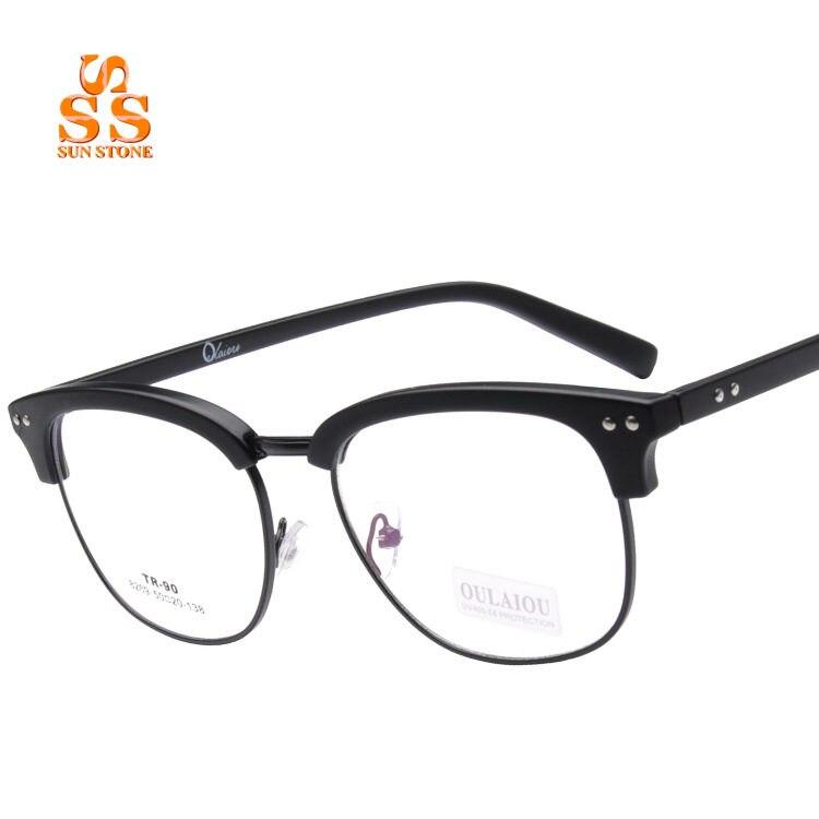 Brand Designer Retro Joker TR90 Half Frame Plain Glass Spectacles ...