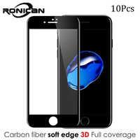 10 Pcs Per il iPhone Xs 6 7 Più Il Telefono Pellicola Della Protezione Dello Schermo 9H 3D Curvo In Fibra di Carbonio Morbido Bordo vetro temperato Per il iPhone 8 8 Più