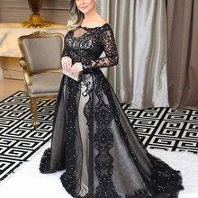 Modesto de encaje negro vestidos de noche largos manga barco cuello árabe las mujeres Vestido Formal Abendkleider Vestido largo de Fiesta Vestidos