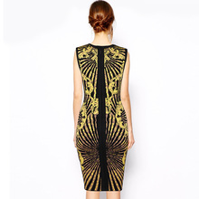 INDRESSME 2017 New Luxury Vintage Sleeveless Yellow Floral Jacquard Sexy Bandage Dress Clearance